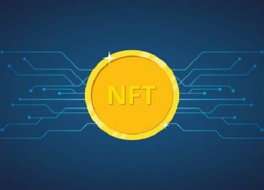 nft-gold-token-blue-background